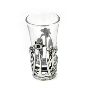 Welsh Daffodil - Solid Pewter Shot Glass Holder and Glass Thumbnail 1