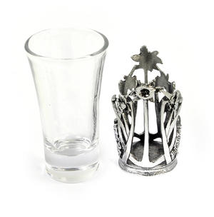 Welsh Daffodil - Solid Pewter Shot Glass Holder and Glass Thumbnail 2