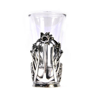 Welsh Daffodil - Solid Pewter Shot Glass Holder and Glass Thumbnail 4
