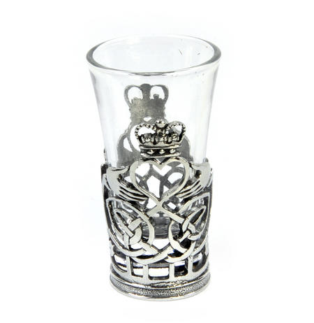 Claddagh / Shamrock  - Solid Pewter Shot Glass Holder and Glass