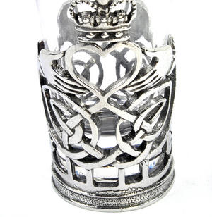 Claddagh / Shamrock  - Solid Pewter Shot Glass Holder and Glass Thumbnail 2