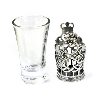 Claddagh / Shamrock  - Solid Pewter Shot Glass Holder and Glass Thumbnail 3