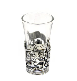Rampant Scottish Lion - Solid Pewter Shot Glass Holder and Glass Thumbnail 1