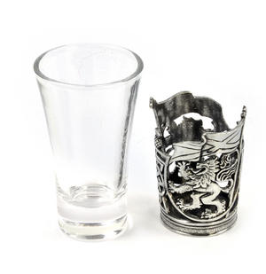 Rampant Scottish Lion - Solid Pewter Shot Glass Holder and Glass Thumbnail 2