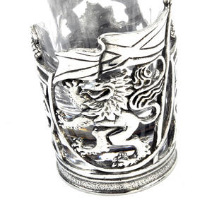 Rampant Scottish Lion - Solid Pewter Shot Glass Holder and Glass Thumbnail 3