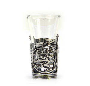 Rampant Scottish Lion - Solid Pewter Shot Glass Holder and Glass Thumbnail 4