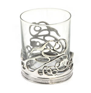 Art Deco Swirl Solid Pewter Whiskey Tumbler Holder and Glass