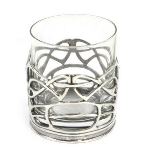 Enamelled Dot Solid Pewter Whiskey Tumbler Holder and Glass