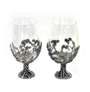 Pair of Grapevine Solid Pewter Wine Glass Holders and Glasses in Presentation Box
