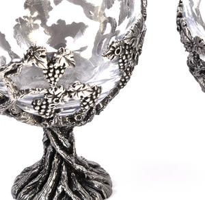 Pair of Grapevine Solid Pewter Wine Glass Holders and Glasses in Presentation Box Thumbnail 2