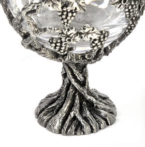 Pair of Grapevine Solid Pewter Wine Glass Holders and Glasses in Presentation Box Thumbnail 3