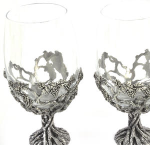 Pair of Grapevine Solid Pewter Wine Glass Holders and Glasses in Presentation Box Thumbnail 4