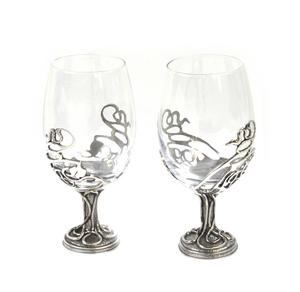 Pair of Art Deco Swirl Solid Pewter Wine Glass Holders and Glasses in Presentation Box