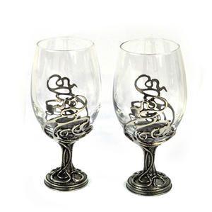 Pair of Art Deco Swirl Solid Pewter Wine Glass Holders and Glasses in Presentation Box Thumbnail 2