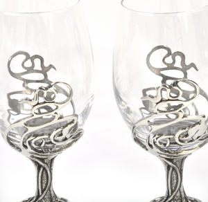 Pair of Art Deco Swirl Solid Pewter Wine Glass Holders and Glasses in Presentation Box Thumbnail 3