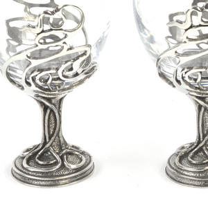 Pair of Art Deco Swirl Solid Pewter Wine Glass Holders and Glasses in Presentation Box Thumbnail 4