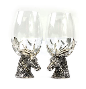 Pair of Highland Stag Solid Pewter Wine Glass Holders and Glasses in Presentation Box