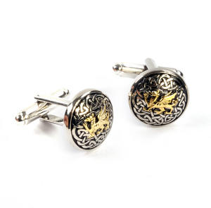 Cufflinks - Welsh Dragon and Celtic Knot Pewter