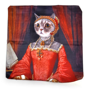 "Renaissance Kitty Cushion / Pillow Cover 18"" x 18"" / 46 cm x 46 cm Thumbnail 3"