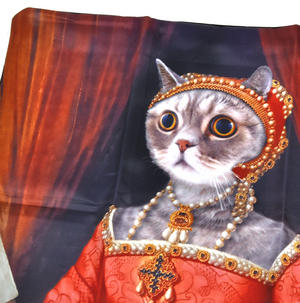 "Renaissance Kitty Cushion / Pillow Cover 18"" x 18"" / 46 cm x 46 cm Thumbnail 4"