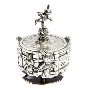 Bunnies Piccadilly Circus Music Carousel - Pewter Musical Box by Royal Selangor Thumbnail 2