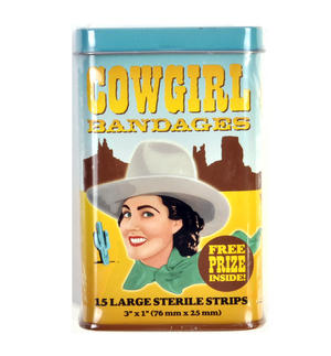 Cowgirl Bandages Plasters - Band Aids In A Tin
