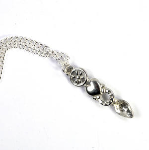 Wheel Lovespoon Necklace - Everlasting Welsh Love Spoon Forged in Pewter Thumbnail 4
