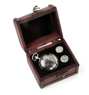 Triple Swirl Celtic Knot - Treasure Chest Pocket Watch and Cufflinks Gift Set