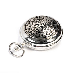 Triple Swirl Celtic Knot - Treasure Chest Pocket Watch and Cufflinks Gift Set Thumbnail 3