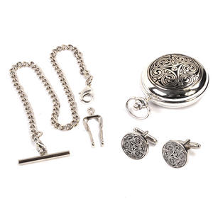 Triple Swirl Celtic Knot - Treasure Chest Pocket Watch and Cufflinks Gift Set Thumbnail 4