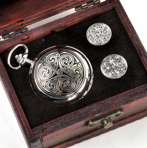 Triple Swirl Celtic Knot - Treasure Chest Pocket Watch and Cufflinks Gift Set Thumbnail 2