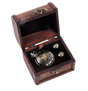 Welsh Dragon and Celtic Treasure Chest Pocket Watch and Cufflinks Gift Set