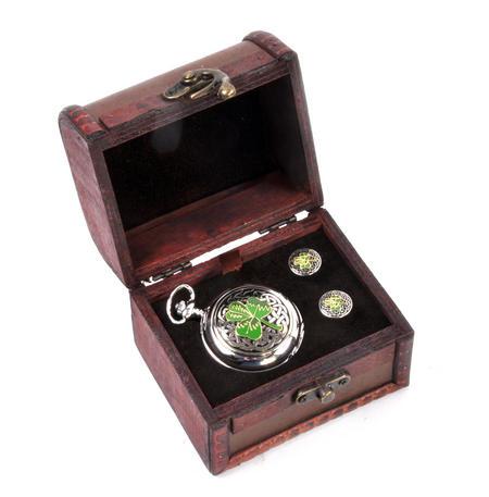 Shamrock Treasure Chest Pocket Watch and Cufflinks Gift Set