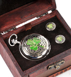 Shamrock Treasure Chest Pocket Watch and Cufflinks Gift Set Thumbnail 2