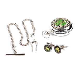Shamrock Treasure Chest Pocket Watch and Cufflinks Gift Set Thumbnail 3