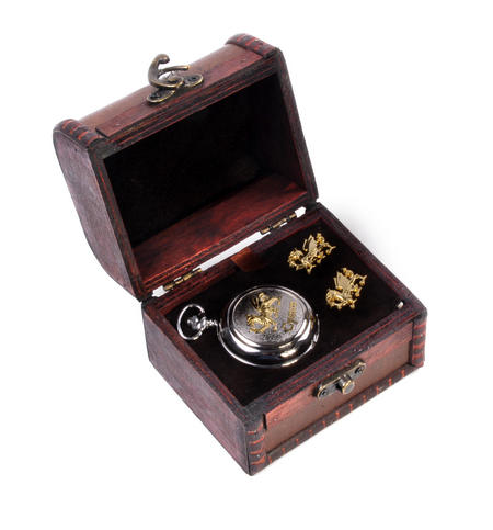 Cymru Two Tone Dragon Treasure Chest Pocket Watch and Cufflinks Gift Set