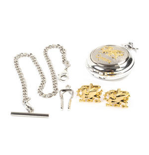 Cymru Two Tone Dragon Treasure Chest Pocket Watch and Cufflinks Gift Set Thumbnail 3
