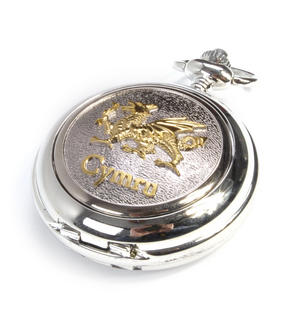 Cymru Two Tone Dragon Treasure Chest Pocket Watch and Cufflinks Gift Set Thumbnail 4