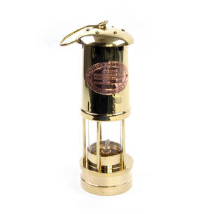 Brass Welsh Miner's Davy Paraffin Lamp, 24cm Thumbnail 1