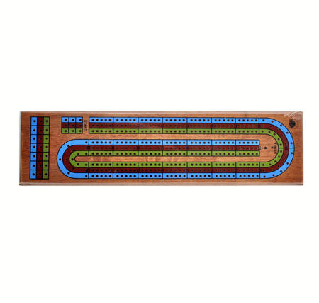 Large 3 Track Red Blue Green Wooden Cribbage Board
