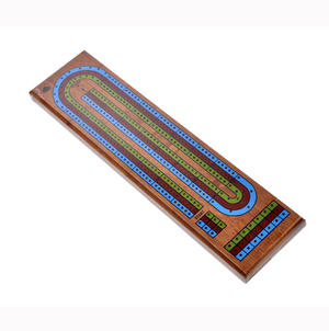 Large 3 Track Red Blue Green Wooden Cribbage Board Thumbnail 2