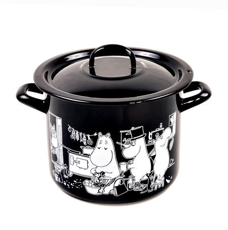 Moomin Muurla Enamel Large 3.5L Black Casserole Cooking Pot with Lid