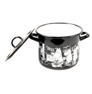 Moomin Muurla Enamel Large 3.5L Black Casserole Cooking Pot with Lid Thumbnail 5