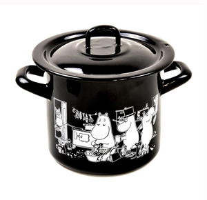 Moomin Muurla Enamel Medium 1.5L Black Casserole Cooking Pot with Lid