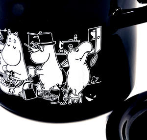 Moomin Muurla Enamel Medium 1.5L Black Casserole Cooking Pot with Lid Thumbnail 2