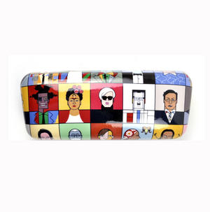 Great Modern Artists by Andy Tuohy Glasses Case - Basquiat, O Keefe, Mondrian, Kahlo, Dali, Warhol, Picasso Thumbnail 3