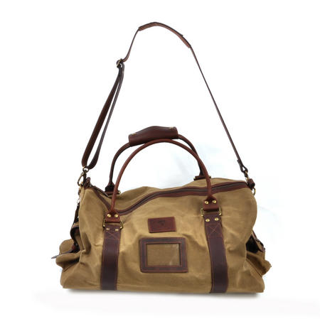 Large Hold All Tough Camel Wax Canvas Weekend Bag by The British Bag Company