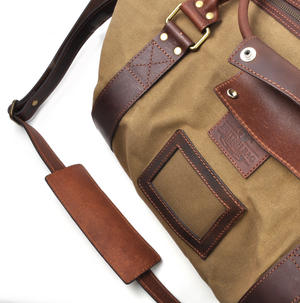 Large Hold All Tough Camel Wax Canvas Weekend Bag by The British Bag Company Thumbnail 5