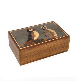 Puffins Secret Marquetry Stash Box with Invisible Opening System 11 x 17cm