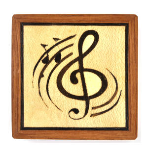 Music Treble Clef  Secret Marquetry Stash Box with Invisible Opening System 8 x 8 cm Thumbnail 2